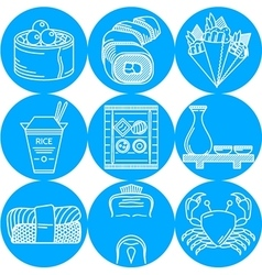 Japanese food blue round icons vector image vector image
