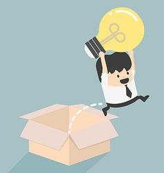 Think outside the box concept to success vector image vector image