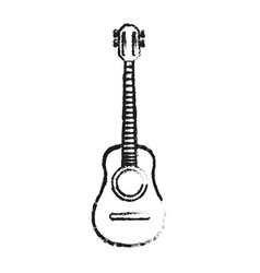 blurred silhouette acoustic guitar musical vector image