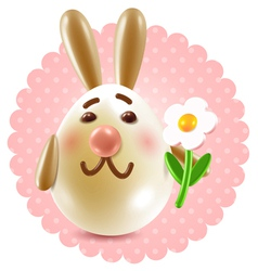 Easter bunny girl with a flower vector image vector image