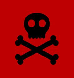 Flat icon stylish background halloween skull bones vector