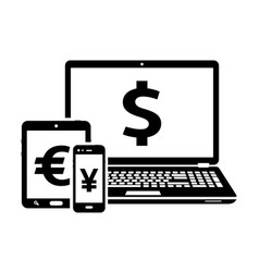 Modern digital devices icons with currency signs vector