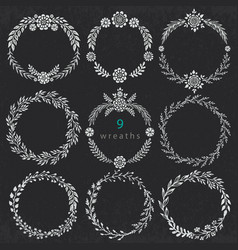 set of hand drawn floral wreaths with vector image vector image