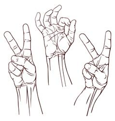Set of three hands vector image vector image