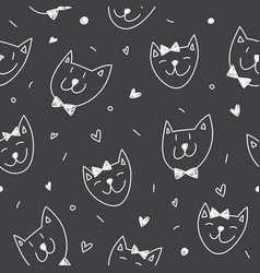 smile cats faces pattern vector image vector image