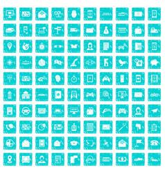 100 telephone icons set grunge blue vector image