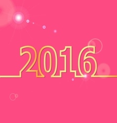 2016 Happy New Year on pink background vector image