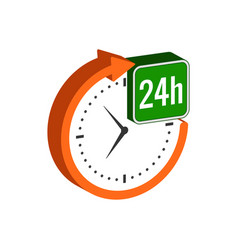 24 hours service symbol flat isometric icon or vector image
