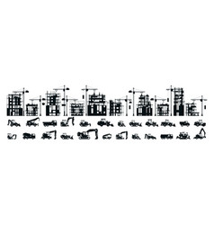 A large set of buildings under construction vector
