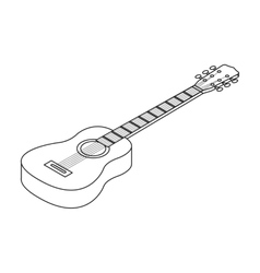 Acoustic guitar icon in outline style isolated on vector