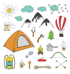 adventures camping travel hand drawn design vector image