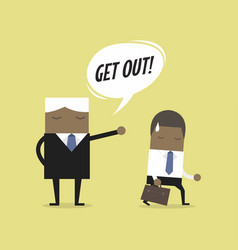 angry boss firing african businessman employee vector image