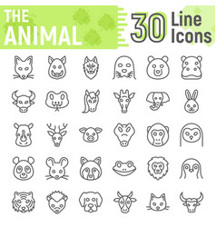 animal line icon set beast symbols collection vector image