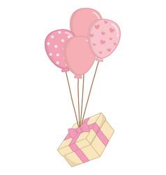 Balloon with gift box vector