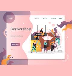 barbershop website landing page design vector image