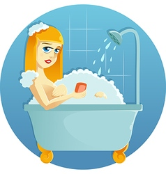 Beauty in the shower vector image