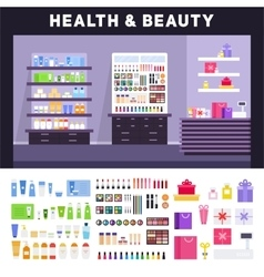 Beauty store with cosmetics on the shelves vector image