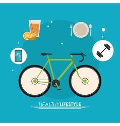 Bike and icon set Healthy lifestyle design vector