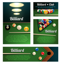 Billiard sport club and poolroom banner template vector