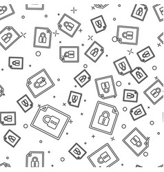 Black document and lock icon isolated seamless vector