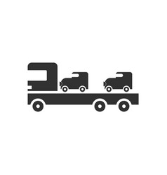 Black icon on white background car carrier truck vector