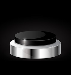Black push button with metal base on black vector