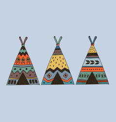 Boho collection with 3 wigwam vector