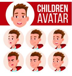 boy avatar set kid high school face vector image