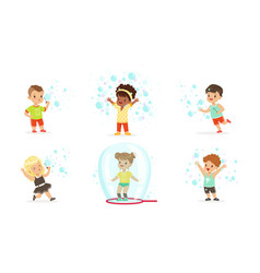 Boys and girls blow bubbles set vector