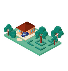 Building and car scene isometric vector
