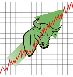 bull head symbolizes the bull market with stock vector image