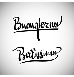 Buongiorno Greetings hand lettering set vector image