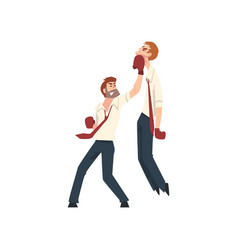 businessmen having fight with boxing gloves vector image
