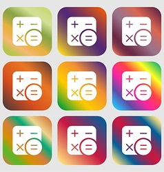 Calculator icon sign Nine buttons with bright vector