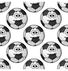 Cartoon cute soccer ball characters seamless vector image