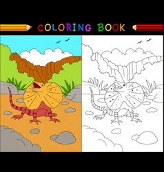 Cartoon frilled lizard coloring book animals vector