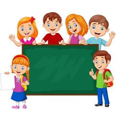 cartoon school children with chalkboard vector image