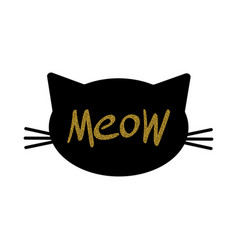 Cat face silhouette with glitter meow lettering vector