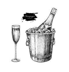 Champagne glassand bottle in ice bucket Hand vector