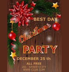 christmas party design poster with tree and bow vector image