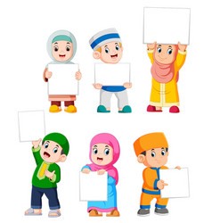 Collection of muslim kids holding big blank sign vector