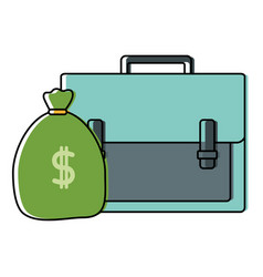 color business briefcase object with bag money vector image
