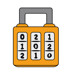 Color image cartoon combination padlock with vector