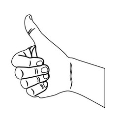 contour hand all good icon vector image