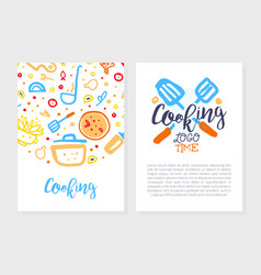 cooking time logo design culinary school class vector image