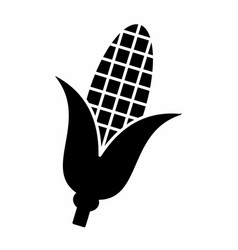 corn cob dark silhouette vector image