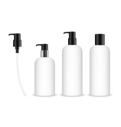 cosmetic plastic bottle with dispenser pump vector image