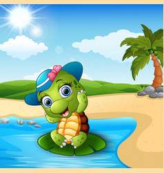 cute baby turtle on the beach vector image