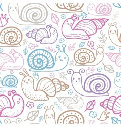 Cute smiling snails seamless pattern background vector image