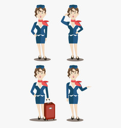 cute stewardess characters set vector image